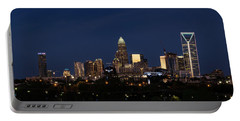 Charlotte Skyline During Blue Hour Portable Battery Charger by Serge Skiba