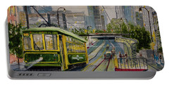 Charlotte Urban Cityscape And Streetcar  Portable Battery Charger