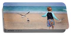 Chasing Birds On The Beach Portable Battery Charger
