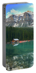 Portable Battery Charger featuring the photograph Chateau Boat House by Jacqueline Faust