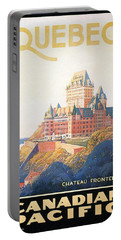 Chateau Frontenac Luxury Hotel In Quebec, Canada - Vintage Travel Advertising Poster Portable Battery Charger