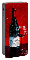 Still Life With Wine Bottle And Glass I Portable Battery Charger