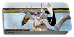 Chatty Seagull Birds Portable Battery Charger by Haleh Mahbod