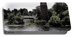 Chautauqua Institute Miller Bell Tower 2 With Ink Sketch Effect Portable Battery Charger