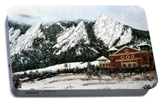 Portable Battery Charger featuring the painting Chautauqua - Winter, Late Afternoon by Tom Roderick