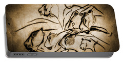 Chauvet Cave Lions Burned Leather Portable Battery Charger