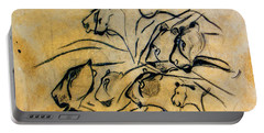 chauvet cave lions Clear Portable Battery Charger