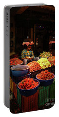 Portable Battery Charger featuring the photograph Cheannai Flower Market Colors by Mike Reid