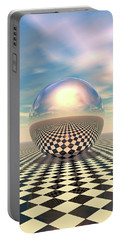 Portable Battery Charger featuring the digital art Checker Ball by Phil Perkins