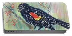 Portable Battery Charger featuring the painting Cheery Redwinged Blackbird  by Ellen Levinson