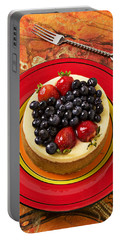 Cheesecake On Red Plate Portable Battery Charger