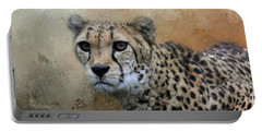 Cheetah Portrait Portable Battery Charger by Eva Lechner
