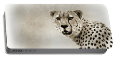 Cheetah Sepia Closeup Square Portable Battery Charger