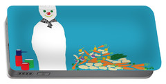 Portable Battery Charger featuring the digital art Chef Snowman by Barbara Moignard