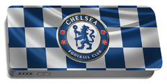 Chelsea F C - 3 D Badge Over Flag Portable Battery Charger by Serge Averbukh