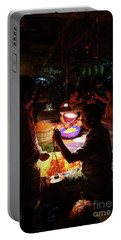 Portable Battery Charger featuring the photograph Chennai Flower Market Transaction by Mike Reid