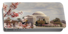 Cherry Blossom And Jefferson Portable Battery Charger by Rima Biswas