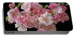 Cherry Blossom On Black Portable Battery Charger by Gill Billington