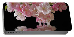 Cherry Blossom Reflections On Black Portable Battery Charger by Gill Billington