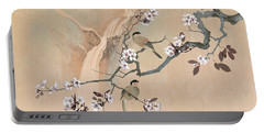 Cherry Blossom Tree And Two Birds Portable Battery Charger