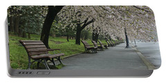 Cherry Blossoms And Benches Portable Battery Charger