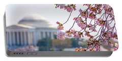 Cherry Blossoms And Jefferson Memorial Portable Battery Charger