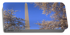 Cherry Blossoms And Washington Portable Battery Charger by Panoramic Images