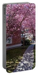 Portable Battery Charger featuring the photograph Cherry Blossoms, Curtis Memorial Library, Brunswick, Me  -10011 by John Bald