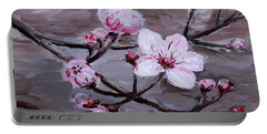 Portable Battery Charger featuring the painting Cherry Blossoms by Maria Langgle