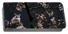 Cherry Blossoms On Dark Bkgrd Portable Battery Charger