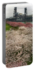 Cherry Blossoms Trees Along Portland Waterfront Portable Battery Charger