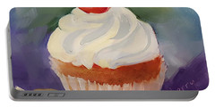 Portable Battery Charger featuring the painting Cherry Delight Cupcake by Judy Fischer Walton