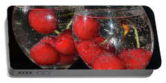 Portable Battery Charger featuring the photograph Cherry In Glass by Elvira Ladocki