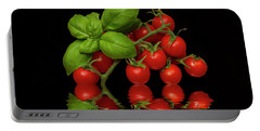 Portable Battery Charger featuring the photograph Cherry Tomatoes And Basil by David French