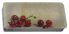 Cherry Tomatoes On Wood Portable Battery Charger