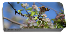 Monarch Butterfly On Cherry Tree Portable Battery Charger