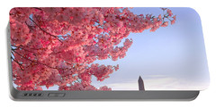 Cherry Tree And The Washington Monument  Portable Battery Charger