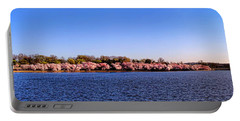 Cherry Trees On The Tidal Basin And Washington Monument  Portable Battery Charger