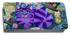 Portable Battery Charger featuring the painting Cheshire Cat - Alice In Wonderland by Carrie Hawks