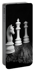 Chess Pieces On Old Wood Portable Battery Charger