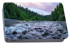 Portable Battery Charger featuring the photograph Chetco River Sunset 2 by Leland D Howard