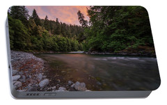 Portable Battery Charger featuring the photograph Chetco River Sunset by Leland D Howard