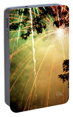 Portable Battery Charger featuring the photograph Chetola Yellow Fireworks by Meta Gatschenberger