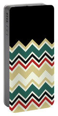 Chevron Beige Forest Green Red Black Zigzag Pattern Portable Battery Charger