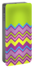 Chevron Bright Green Yellow Blue Purple Zigzag Pattern Portable Battery Charger