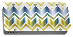 Chevron Metallic Gold Blue Green Gradation Stars Pattern Portable Battery Charger
