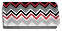 Chevron Red Grey Black White Zigzag Pattern Portable Battery Charger