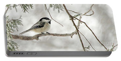 Chicadee In A Snow Storm  Portable Battery Charger
