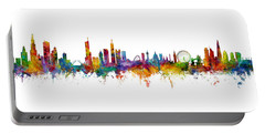 Chicago And London Skylines Mashup Portable Battery Charger