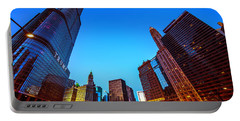 Chicago Cityscape With The Trump Tower Portable Battery Charger